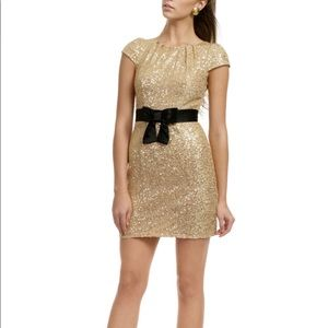 Milly Like Honey gold sequin bow dress